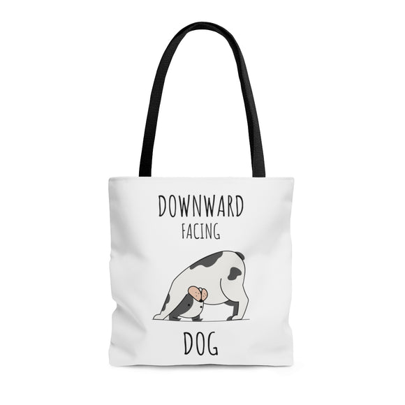 Downward Facing Dog White Tote Bag (3 sizes)