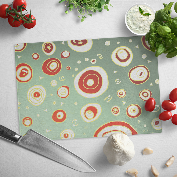 Geo Christmas Holiday Tempered Glass Cutting Board