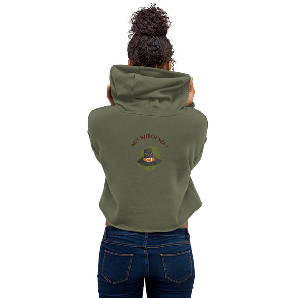 Any Witch Way Ladies Crop Hoodie (2 Colors) Size S-2XL