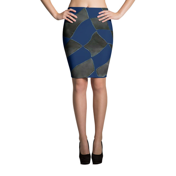 Checker Pencil Skirt