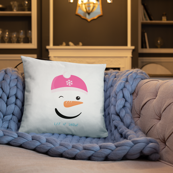 Snowgirl's Let it Snow 18 inch Square Super Soft Stuffed Pillow