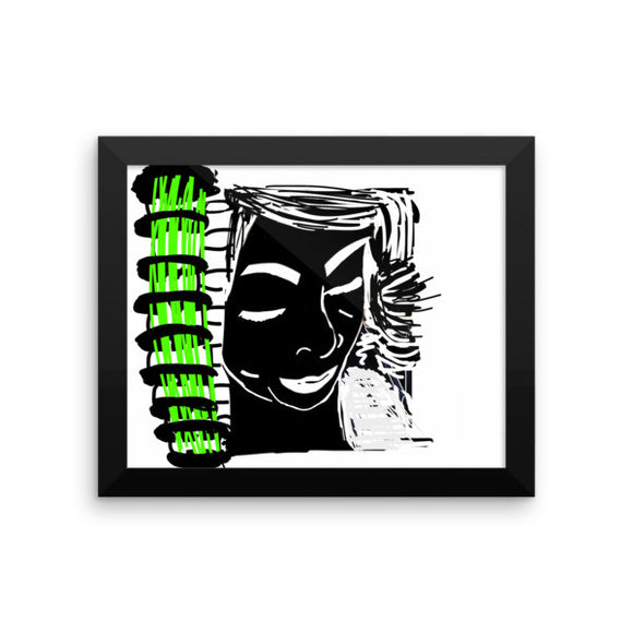 Face Pop in Neon Green Framed Poster