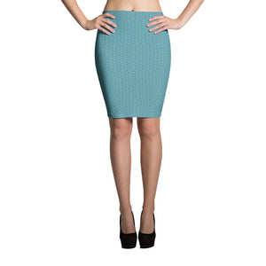 Sea Blue Scales Pencil Skirt
