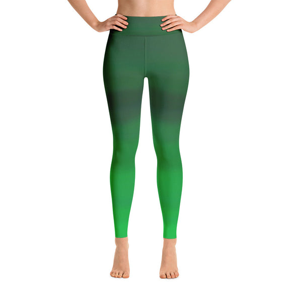 Good Vibes (green-scale) yoga leggings with inside back pocket to keep your locker key. Original price is $55.00USD.