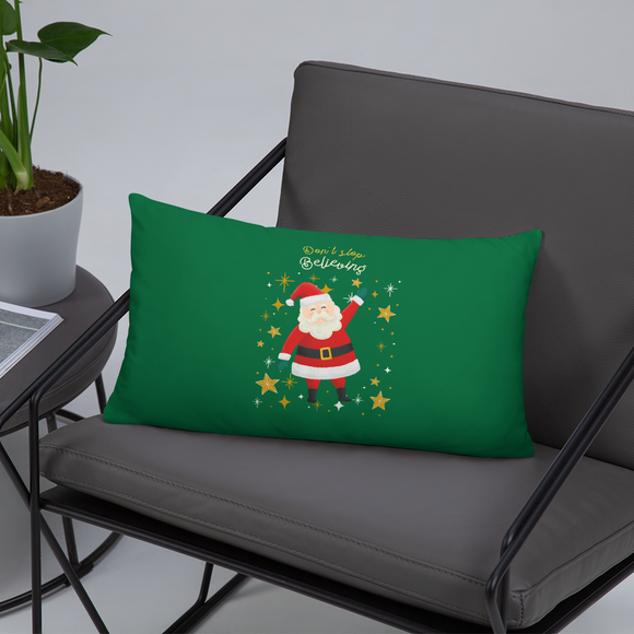 Don't Stop Believing Santa's Christmas Green Super Soft Stuffed Pillows (2 sizes)