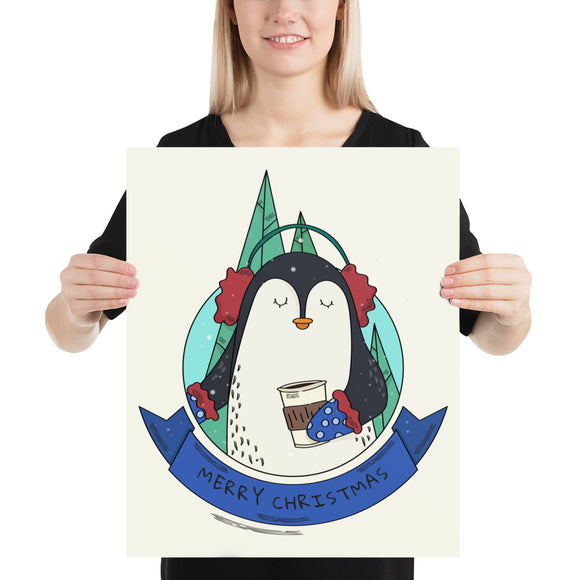 Merry Christmas Penguin Poster(inches) 2 Sizes