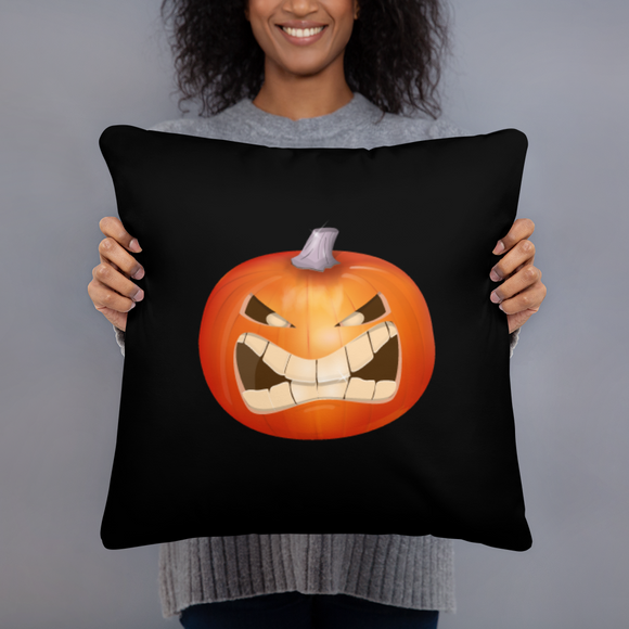 Angry Pumpkin Super Soft Stuffed Square Pillow