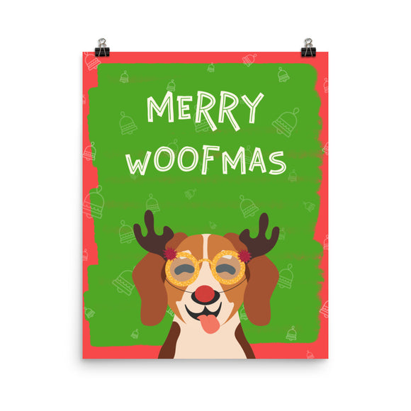 Merry Woofmas Terrier Poster(inches)--2 Sizes
