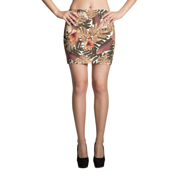 Summer Floral Orange Mini Skirt
