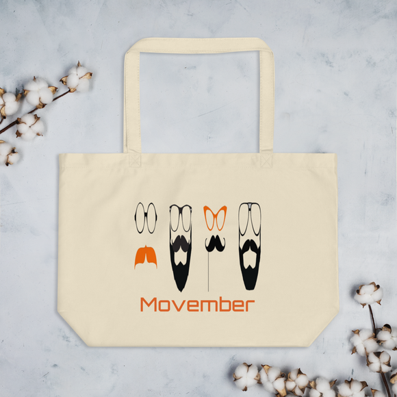 No Shave Movember Large Organic Tote Bag