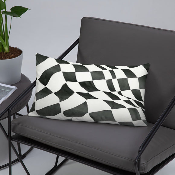 B&W Checker Sway Stuffed Pillows
