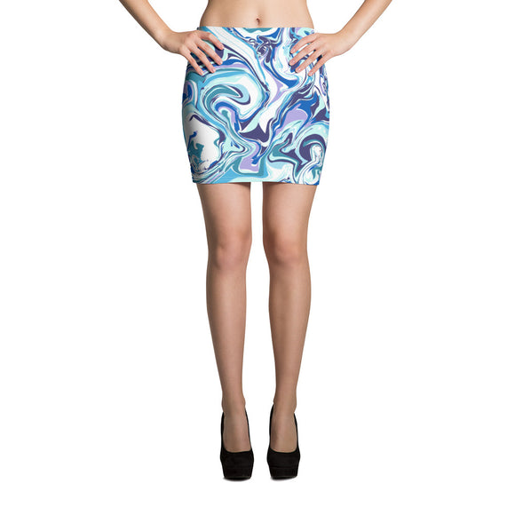 Blue Marble Mini Skirt