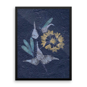 "Photograph display of 18""x24"" Pressed dry Flower-4(blue) on floor of stylish living room space. Framed poster full price is $75.00 for 18""x24"" frame and $124.00 for 24""x36"" frame."