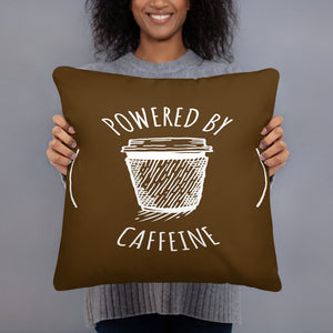 Powered by Caffeine Stuffed Square Pillow