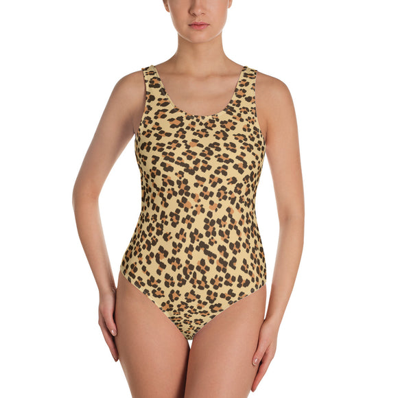 Brown Leopard One-Piece Swimsuit
