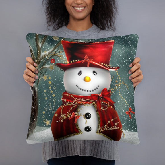 Jolly Snowman and Garland Super Soft Stuffed Pillow