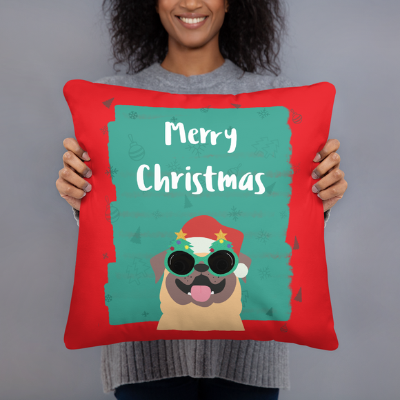Merry Christmas from Pug Super Soft Stuffed Pillows (2 Sizes)