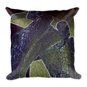 Photograph of Molds Square Pillow(full price $25.00) displayed on top of blanket on chair by bedroom window.