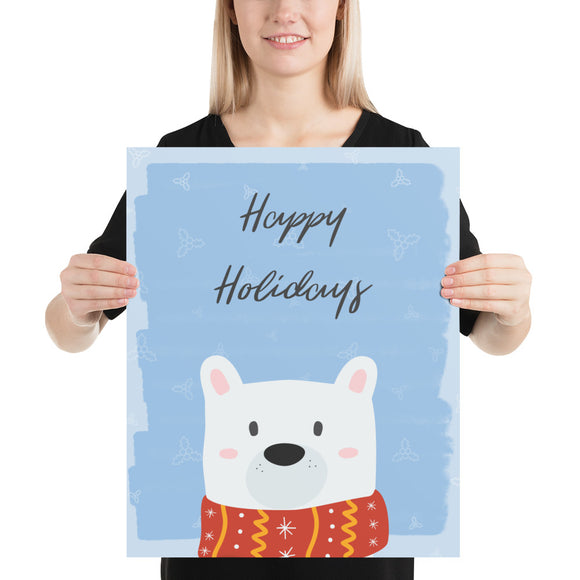 Happy Holidays Polar Bear Poster (inches)--2 Sizes