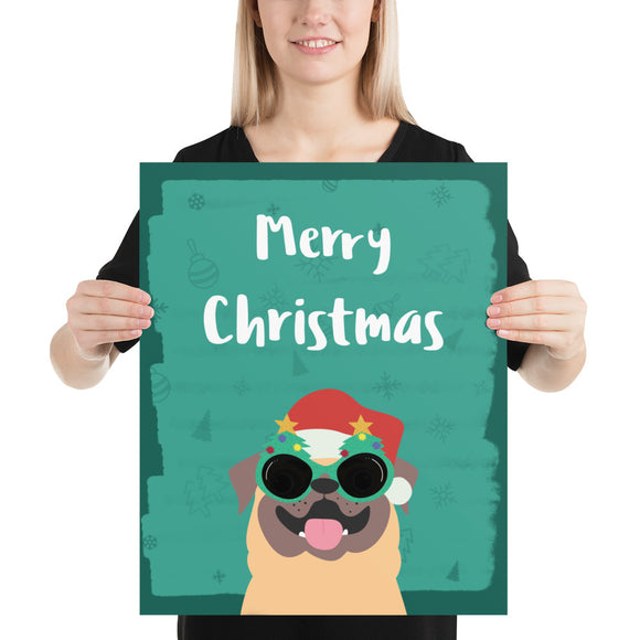 Merry Christmas Pug Poster(inches)--2 Sizes