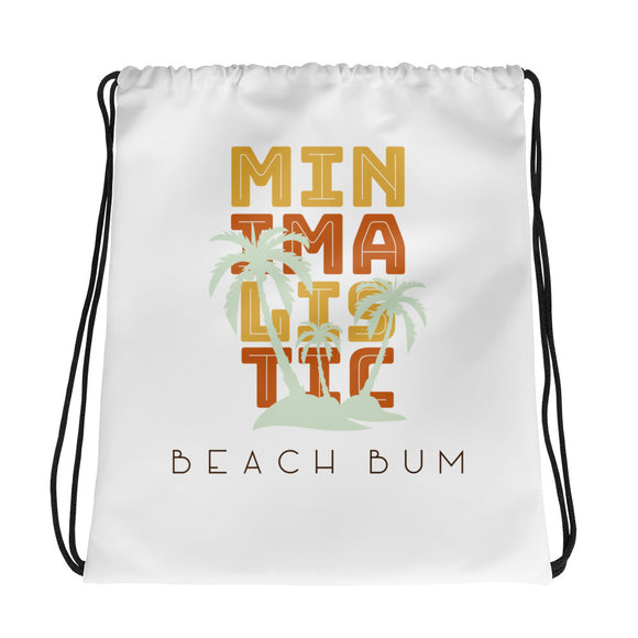 Minimalistic Beach Bum Drawstring Bag
