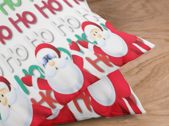 Photograph closeup view of the HO HO HO Santas front and backside of the pillow