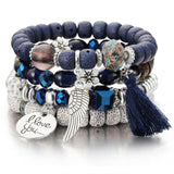 Crystal Beads and Charms Bracelets with Tassel for Women (31 Choices)
