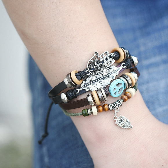 Multi-layer Beads, Leather and Metal Charmed Leather Wristbands (8 choices)