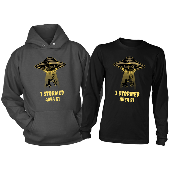 Area 51 Hoodie & Long Sleeve Shirt Combination for Men, Sizes S-4XL