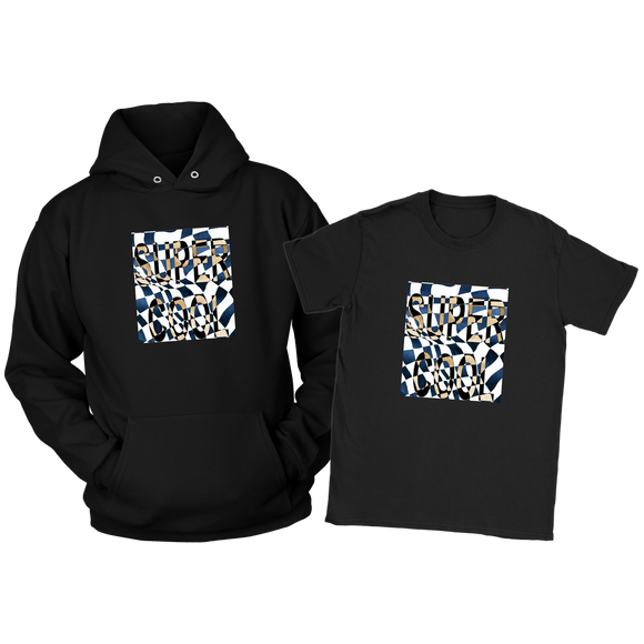 Ladies SUPER COOL Combo Deal-Black Hoodie & Navy Color Tee (Sizes S-3XL)