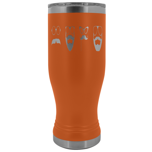 No Shave Movember Mustaches 20 ounce BOHO Stainless Steel Tumbler (12 colors)