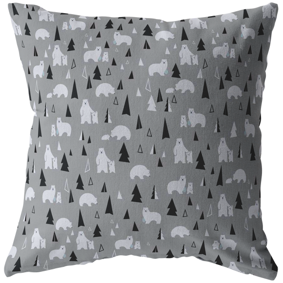 Polar Bears Winter Scene Personalization Pillow (4 sizes)--Upload Your Own Image!
