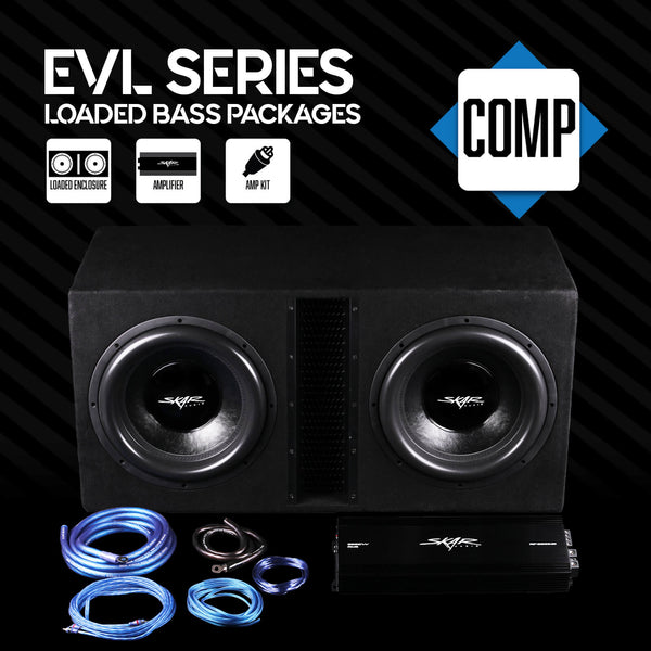 Skar Audio EVL Series Loaded Bass Package with Amplifier and Wiring Kit