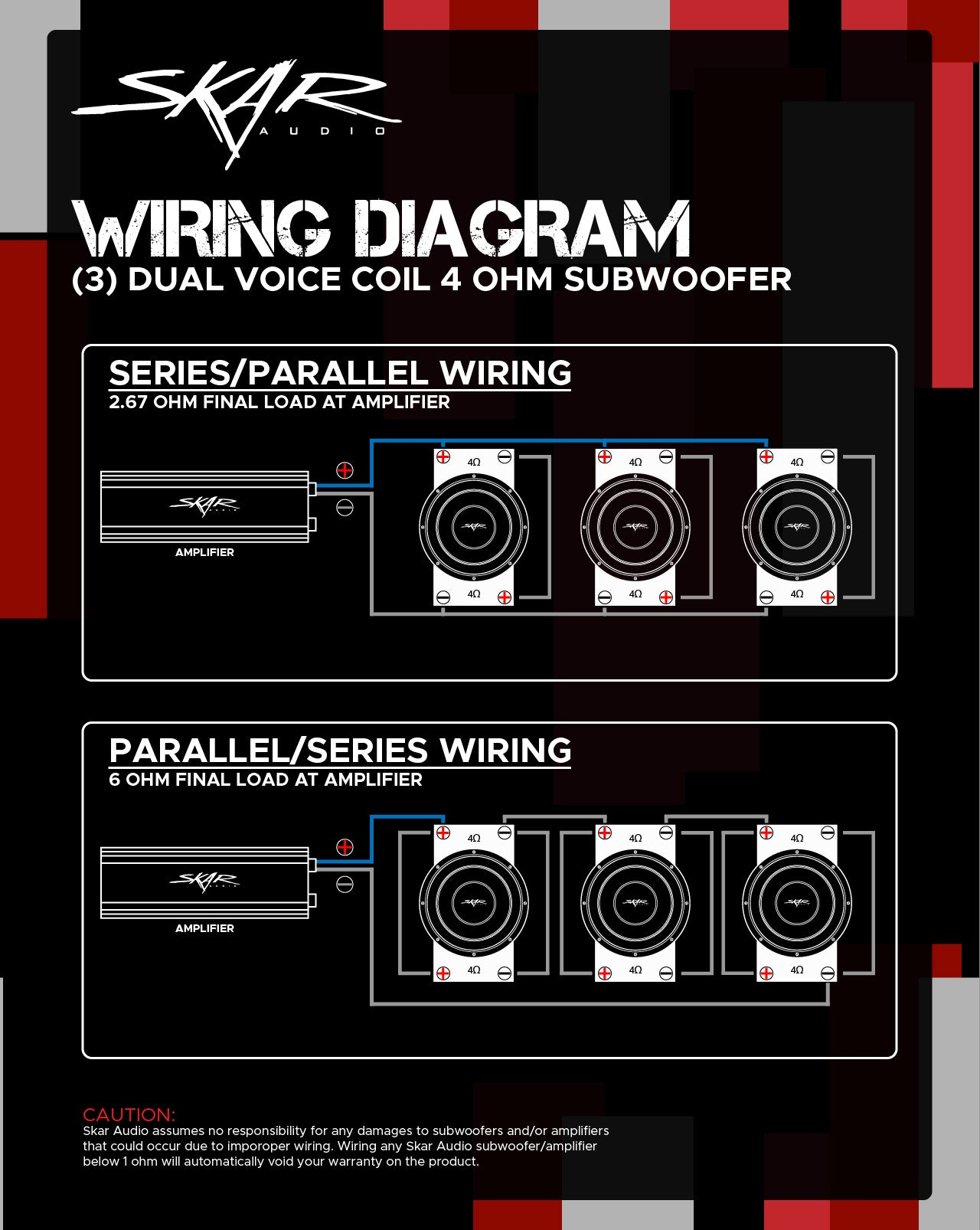 Dual Voice Coil Subwoofer Wiring Guides - Skar Audio Knowledge Base & Help  Desk | With Dual 4 Ohm Mono Amp Wiring Diagram |  | Skar Audio Knowledge Base & Help Desk