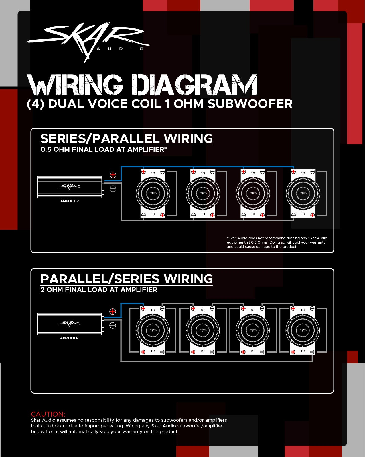 Dual Voice Coil Subwoofer Wiring Guides - Skar Audio Knowledge Base & Help  Desk | Hx2 Dual 2 Ohm Subwoofer Wiring Diagram |  | Skar Audio Knowledge Base & Help Desk