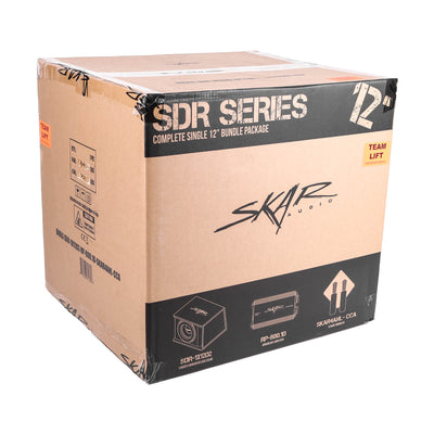"Skar Audio BNDLE-SDR-1X12D2-RP-800.1D-SKAR4ANL-CCA Single 12"" Loaded Subwoofer Enclosure with Amplifier and Wiring Kit - Package View"