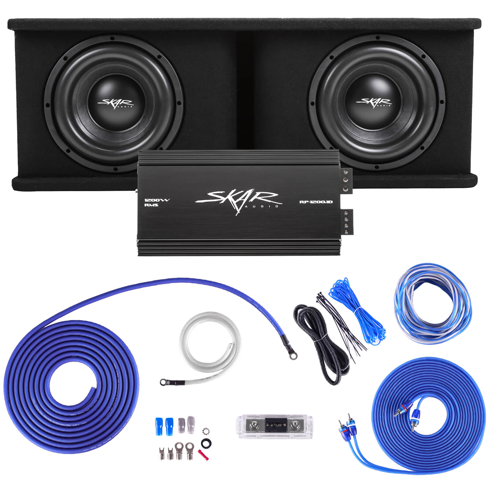 "Skar Audio Dual 10"" 2,400 Watt Max Power Loaded Subwoofer Enclosure Complete Bass System - Main Image"