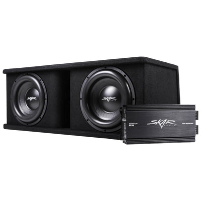 "Skar Audio Dual SDR 12"" 2400 Watt Loaded Sub Box and Amplifier - Loaded Enclosure & Amplifier"