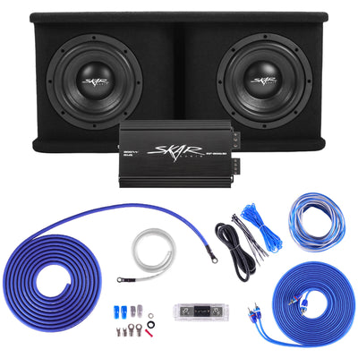 "Skar Audio BNDLE-SDR-2X8D4-RP-800.1D-SKAR4ANL-OFC Complete Bass Package - Dual 8"" Loaded Subwoofer Enclosure with Amplifier and Wiring Kit - Main Image"