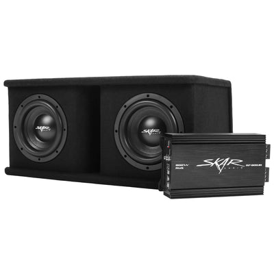 "Skar Audio BNDLE-SDR-2X8D4-RP-800.1D-SKAR4ANL-OFC Complete Bass Package - Dual 8"" Loaded Subwoofer Enclosure with Amplifier and Wiring Kit - Secondary Image"