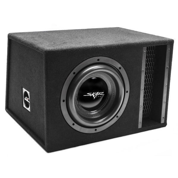 "Skar Audio EVL-1X10D2 Single 10"" EVL Loaded Vented Subwoofer Enclosure - Angle View"