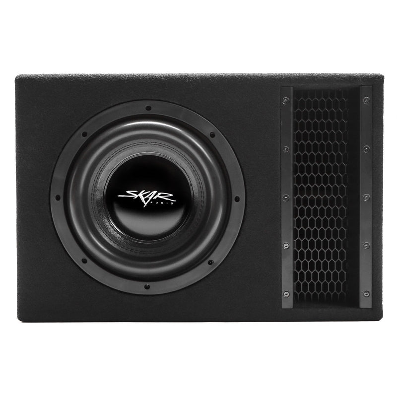 "Skar Audio EVL-1X10D2 Single 10"" EVL Loaded Vented Subwoofer Enclosure - Front View"