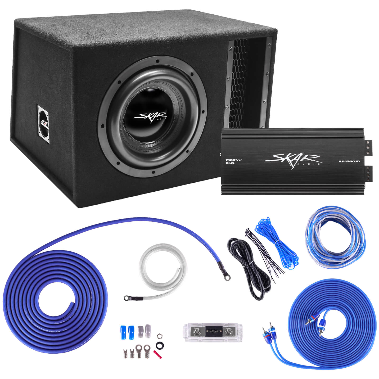 "Skar Audio Single 10"" EVL Series 2,000 Watt Complete Bass Package with Amplifier and Wiring Kit - Main Image"