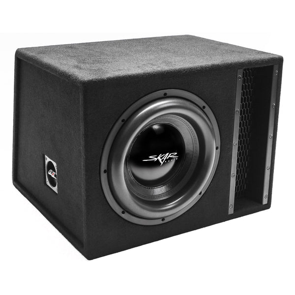 "Skar Audio EVL-1X12D2 Single 12"" EVL Loaded Vented Subwoofer Enclosure - Angle View"