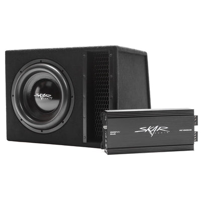 "Skar Audio Single EVL 12"" 2500 Watt Loaded Sub Box and Amplifier - Angle View"
