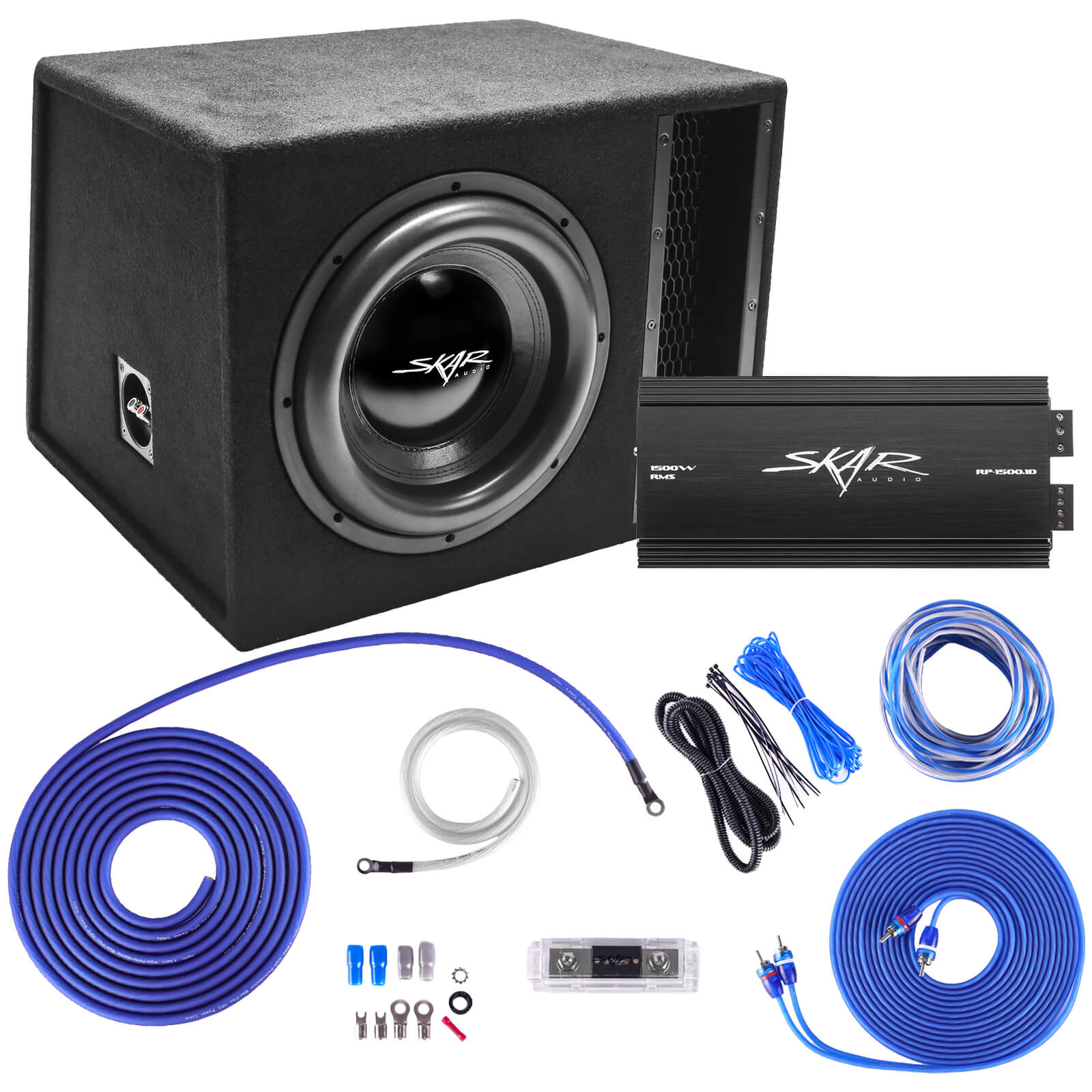 "Skar Audio Single 12"" EVL Series 2,500 Watt Complete Bass Package with Amplifier and Wiring Kit - Main Image"