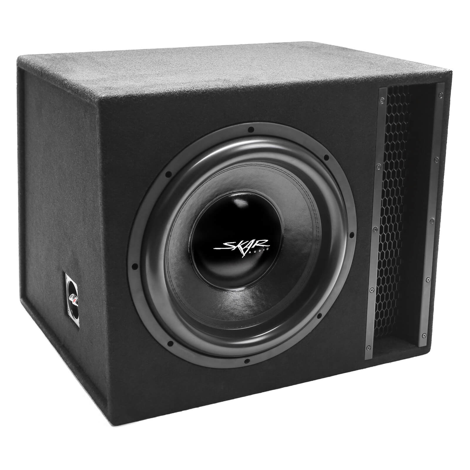 "Skar Audio EVL-1X15D2 Single 15"" EVL Loaded Vented Subwoofer Enclosure - Angle View"