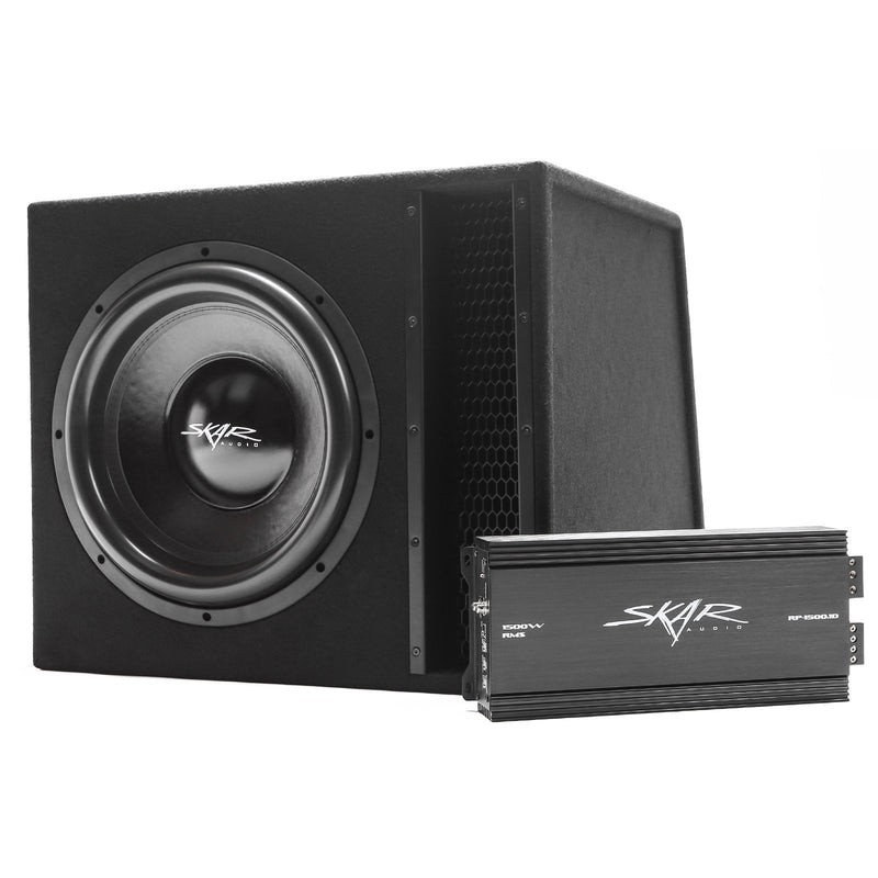 "Skar Audio Single EVL 15"" 2500 Watt Loaded Sub Box and Amplifier - Angle View"