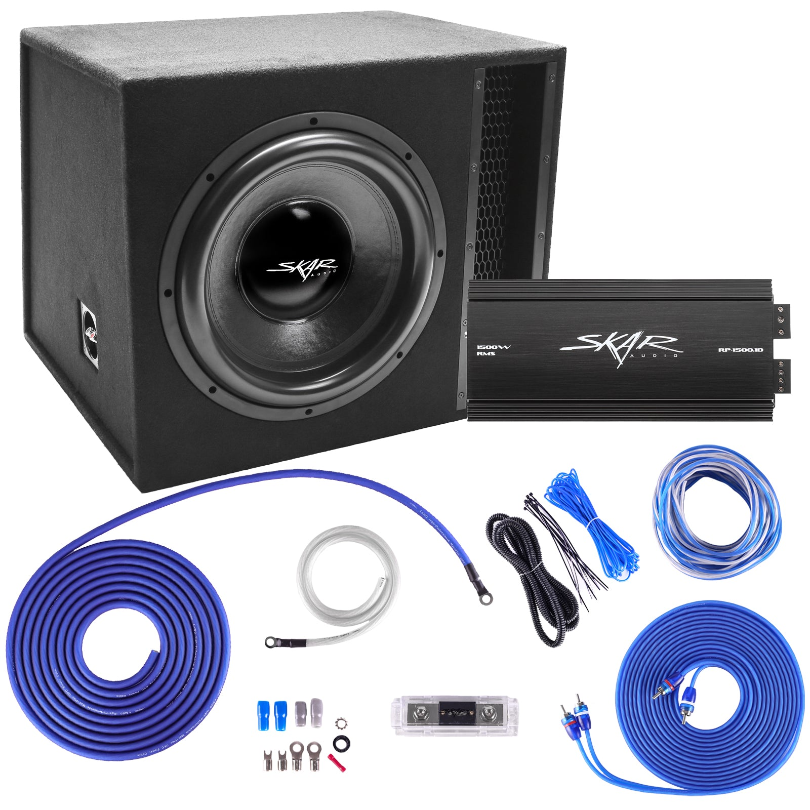"Skar Audio Single 15"" EVL Series 2,500 Watt Complete Bass Package with Amplifier and Wiring Kit - Main Image"
