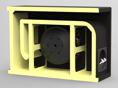 "EVL-1X65D4-V-LP | Low-Profile 6.5"" 400 Watt Loaded Vented Subwoofer Enclosure - 3D Internal Image"